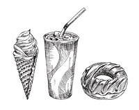Cola paper cup with dessert vector monochrome illustration. Ice-cream and donut fast food badge sketch style for restaurant menu, cafe cover template. Cola paper cup, dessert vector monochrome sketch