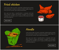 Fried chicken and noodle posters with headlines set. Japanese ramen served in box with chopsticks. Meat with tomato sauce in bowl vector illustration. Fried Chicken and Noodle Set Vector Illustration