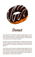 Donut sweet dessert glazed with chocolate cream, isolated on white vector illustration with text sample, round pastry with hole, abstract edible ring. Donut Sweet Dessert Glazed with Chocolate Cream
