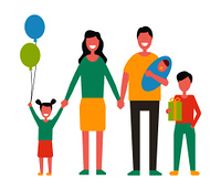 Family with children holding newborn baby, gift box and balloons. Parents beside kids ready for birthday party carrying present vector illustration.. Family with Children Holding Gift Box and Balloons