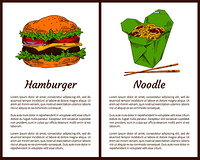 Hamburger and noodle posters set of fast food. Asian traditional meal served with chopsticks. American bun with ham, salad leaves vector illustration. Hamburger Noodle Posters Set Vector Illustration