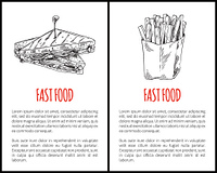 Fast food French fries and sandwich monochrome sketches outline. Ham and cheese in roasted bread fried potatoes in package takeaway salty meal vector. Fast Food Fries and Sandwich Vector Illustration
