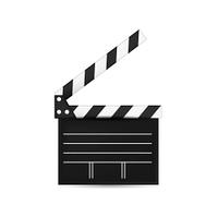Creative vector illustration of 3d realistic movie clapper board. Art design cinema slate board template.