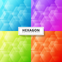Set of abstract blue, purple, green, red color geometric hexagon overlapping layer background. Vector illustration