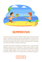 Summer fun, kids playing with guns loaded with water vector, children onvacations. Fighting by aqua boys at coastline, vector kids at seaside having fun. Website or webpage template, landing page. Kids Playing with Guns with Water Vector, Children