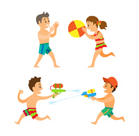 Boy and girl playing on beach, summer outdoor activity vector. Children with inflatable ball and water pistols, kids in swimwear, friends on seaside. Summer Activity, Boy and Girl Playing on Beach