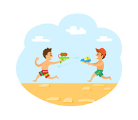 People having fun in summer vector, vacations of kid on beach. Children playing with guns loaded with water, summertime holidays and game of child. Water Fight of Boys on Summer Vacations Vector