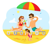 People relaxing on beach vector, parents enjoying alcoholic beverage poured in glasses. Child building sand castle. Married couple with kid by seaside. Family on Summer Vacation, Parents and Kid Vector