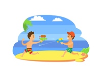 Kids playing with guns loaded with water vector, children on summer vacations. Fighting by aqua boys at coastline, vector happy kids at seaside having fun. Kids Playing with Guns with Water Vector, Children