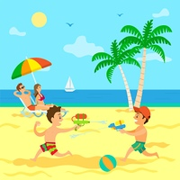 Kids playing with guns loaded with water vector, children on summer vacations with parents. Couple laying on chaise longue relaxing on sun, sunbathing on beach, summertime relax with childrens. Children Playing with Water Guns, Summer Vacation
