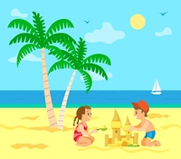 Children building sand castle vector, kids on summer vacations. Summertime fun, sailboat on sea, palm tree with exotic foliage and hot sand, sunny weather. Summer Vacation of Kids, Children with Sand Castle