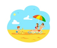 Family vacations vector, summertime relaxation of parents and kid. Child building sand castle on beach, man and woman laying under umbrella shade, family weekend on beach. Kid Building Sand Castle and Parents Relaxing