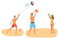 Summer fun, recreation activities on sand. Man and woman in swimsuit playing beach volleyball, male with wind kite cartoon people with ball isolated. Summer Recreation Activities on Sand Man and Woman
