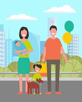 Lovely family mother, father, newborn boy and daughter with favorite pet walking together in city park, buildings and houses on background. Vector parents and kids. Flat cartoon. Lovely Family Mother, Father, Newborn Boy Daughter
