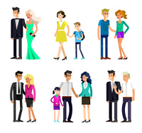 Detailed character people family, parents with kids, couple, family with children. Vector family character. Illustration family people. parents with kids, couple, family and children