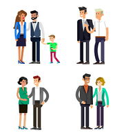 Detailed character people family, parents with kids, couple, family with children. Vector family character. Illustration family people isolated on white background. parents with kids, couple, family and children
