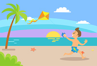 Summer holidays vector, summertime vacations kid. Boy running along beach coastline with sea water, sunset and relaxation by seaside, exotic tourism. Boy Kid Having Fun Summertime Vacations Sunset