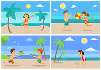 Children playing at beach vector, kids having water fight, girl holding towel, drawing on sand. Boy and girl playing ball volleyball, tropics vacation. Beach Summertime Vacation of Kids, Children Set
