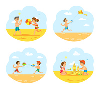 Beach vacations of children vector, boys and girls playing on beach. Boys with guns loaded with water, volleyball and wind kite in sky, sand castle. Tropical Vacations in Summer, Children on Beach