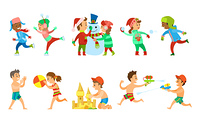 Children vacations in summer and winter vector, kids building snowman and sand castle, playing water fight and snowball battle. Volleyball on beach. Winter and Summer Holidays Kids Outdoor Activities