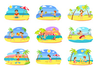 Summer vacation vector, set of kids on beach. Boys and girls playing together, building castle, eating juicy watermelon. Water fight and wind kite. Beach Relaxation of Kids, Children on Vacation