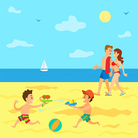 Summertime vacations of kids vector, parents walking along sea while children having battle with guns. Sailboat on water surface, water fight of boys. Seaside Relaxation of Parents and Kids in Summer