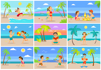 Kids on summer vacations vector set, girl with boy playing volleyball, kid with lifebuoy, water fight and sand castle building, diving equipment on male. Tropical Vacations Children by Seaside Having Fun