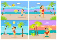 Children having fun by seaside vector, kids playing at beach. Boy eating watermelon sitting on sand, girl listening to seashell, child with kite, ice cream. Kids at Beach Seaside Coastal Vacations Flat Style