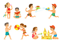 Kids playing in summer vacations vector, girl eating ice cream dessert, children playing volleyball and building castle from sand. Water battle guns. Summer Vacation Kids Playing Together, Kids Set