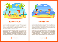 Summer fun vector, kids playing at beach, posters with text. Water fight guns loaded with liquid, boys on vacation having fun together flat style. Summer Fun Children at Beach, Seaside Relaxation