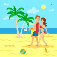 Couple going in sand,woman in swimsuit holding man with towel, portrait view of people on beach. Palm tree and surf, sailboat on sea, clouds and sun vector. People on Beach in Swimsuit, Going in Sand Vector