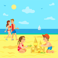Summer vacations of kids vector, beach and seaside view, Family on holidays, couple parents walking along coast and kids building castle from sand. Kids Playing on Beach, Summer Vacation of Children