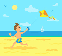 Small kid on summer vacation vector, boy running with kite in hands. Sunny weather, sailboat on water and sunshine, kid on beach having fun holidays. Kid Running Along Coast with Wind Kite in Hand
