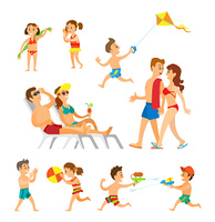 Children playing at beach vector, woman and man adults walking holding towel. Kids with volleyball ball, girl with seashell, boy with kite and water fight. People on Beach, Parents and Children Playing