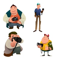 A vector illustration of Funny Photographer Characters Holding a Camera