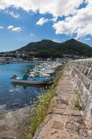 函館漁港船入澗防波堤と函館山