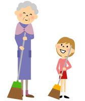 シニア おばあちゃんと女の子 掃き掃除