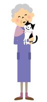 シニア おばあちゃんと猫