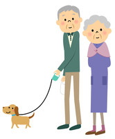 シニア夫婦 犬の散歩
