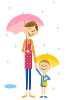 雨の日のお迎え 家族 親子
