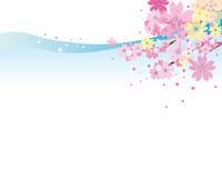 桜のある水の風景
