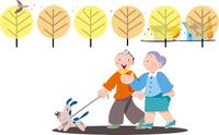 犬と散歩する夫婦