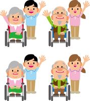 車椅子の老人と介護師