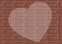 板チョコ柄背景とハートのコピースペース バレンタイン 横長