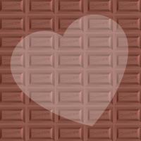 板チョコ柄背景とハートのコピースペース バレンタイン 正方形