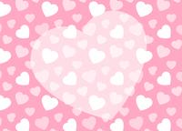 ピンクのハート柄+ハートのコピースペース 背景素材 バレンタイン 横長
