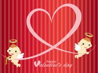 バレンタイン 天使とハートの背景素材