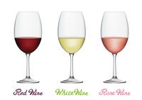 赤ワインと白ワインとロゼワイン ワイングラスセット