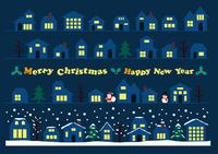 クリスマスの街並み ライン素材セット