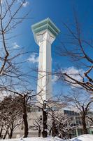 新雪の五稜郭公園と五稜郭タワー